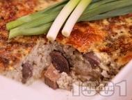 Класическа агнешка дроб сарма с ориз на фурна за Великден и Гергьовден със заливка от прясно мляко, брашно и яйца